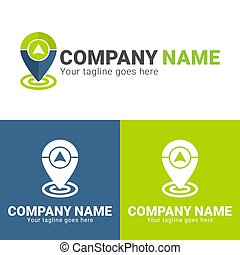 gps location logo design template isolated on white background. gps in pin logo design. Pin logo with gps icon design template. Editable color. EPS file. Logo design template for business and other
