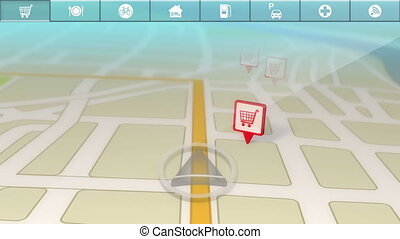 Animation showing a generic GPS demo as it discovers different Points of Interest along the way.