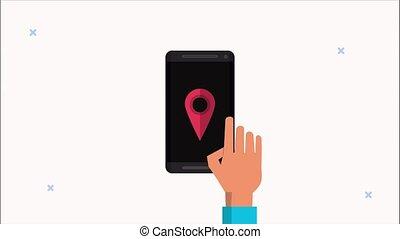gps, main, app, utilisation, smartphone