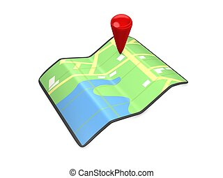 GPS map 3d conceptual image, isolated on white background.