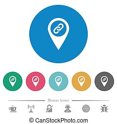 GPS map location attachment flat round icons