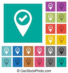 GPS map location ok square flat multi colored icons