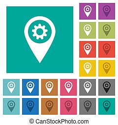 GPS map location settings square flat multi colored icons