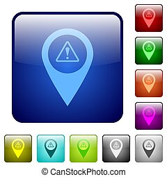 GPS map location warning color square buttons