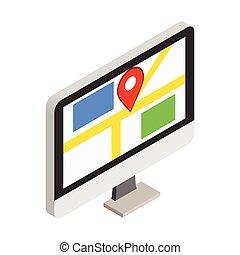 GPS map on display of computer monitor