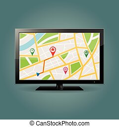 GPS map on TV screen