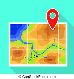 Gps map pin icon, flat style