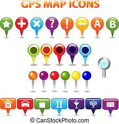 gps, mapa cor, ícones