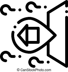 Gps Mark With House Icon Outline Illustration