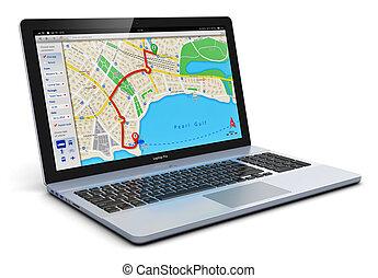 gps, navegación, en, computador portatil