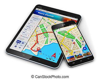 gps, navegación, en, móvil, dispositivos