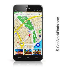 gps, navegación, en, smartphone