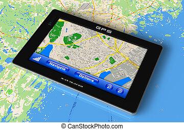gps, navegador, ligado, mapa