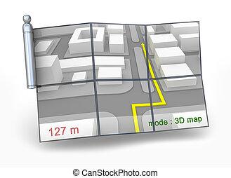gps, navegante, y, 3d, mapa