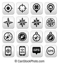 gps, navigáció, felteker, rózsa, iránytű