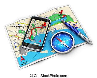 gps, navigace, pohybovat se i kdy turistika, cocnept