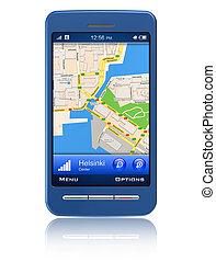 gps, navigatör, in, smartphone
