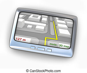 gps, navigatör, med, karta, framdelen beskådar
