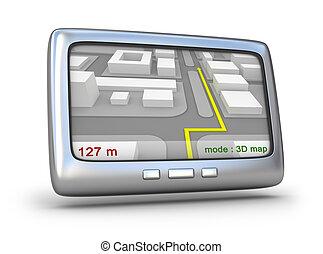 gps, navigatör, och, 3, karta