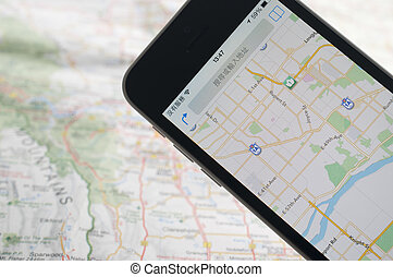 gps, navigatör, smartphone, karta