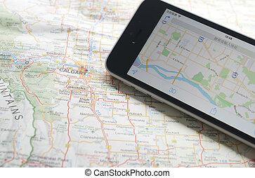gps, navigateur, smartphone, carte