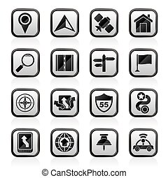 Gps, navigation and road icons