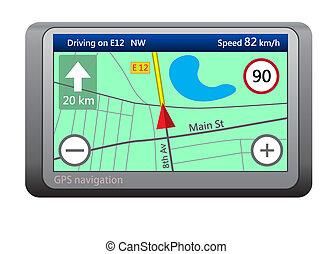 gps, navigation, appareil, isolé, blanc, fond