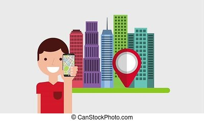 gps navigation application - character holding mobile pin...