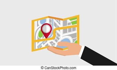 gps navigation application - hand holding map pin navigation...