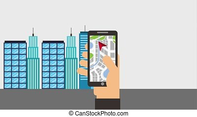 gps navigation application - hand holding mobile gps...