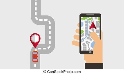 gps navigation application - hand holding mobile with gps...