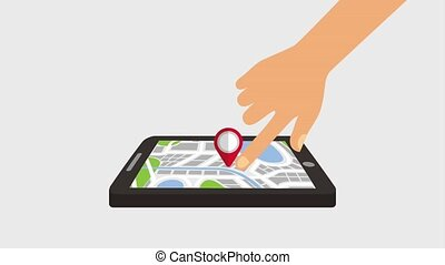 gps navigation application - hand mobile with pointer map...