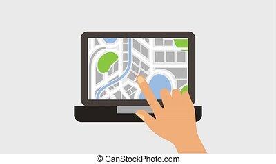 gps navigation application - hand touch screen laptop...