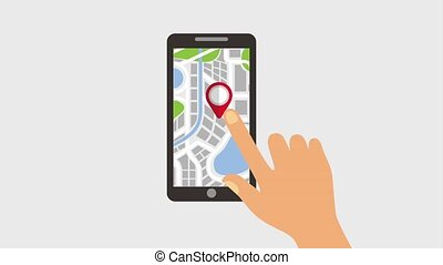 gps navigation application - hand touch screen mobile gps...
