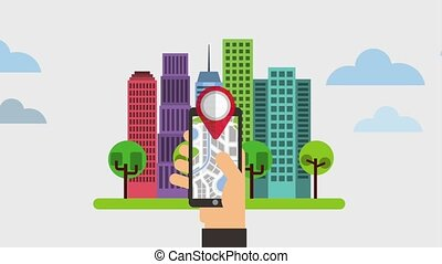 gps navigation application - hand with smartphone gps...