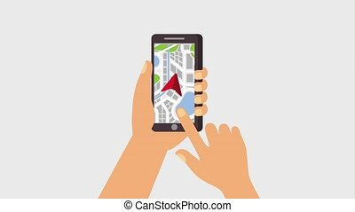 gps navigation application - hands holding smartphone gps...