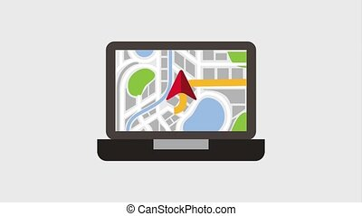 gps navigation application - laptop digital device with...