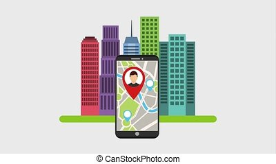 gps navigation application - mobile with avatar in pin map...