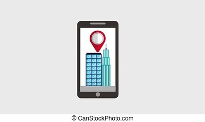 gps navigation application - smartphone pointer in building...