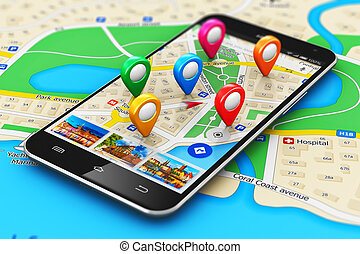 GPS navigation concept - Creative abstract GPS satellite ...
