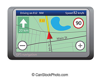 GPS navigation device isolated on white background