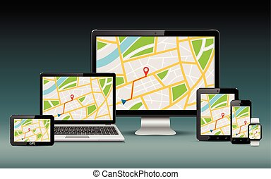 GPS navigation devices template - Navigation template. GPS...