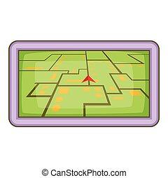 GPS navigation icon, cartoon style
