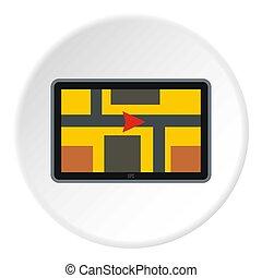 GPS navigation icon, flat style