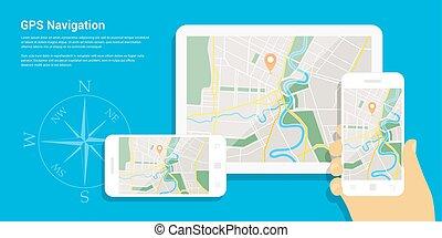 gps navigation map - Flat style design of web banner...