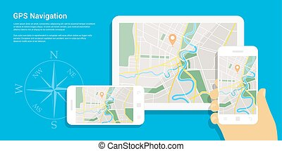 gps navigation map - Flat style design of web banner ...