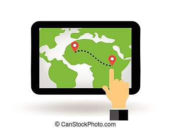 gps navigation map on tablet display illustration