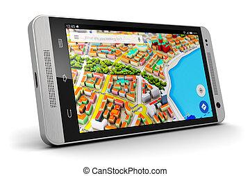 gps, navigation, på, smartphone