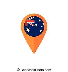gps navigation pin flag australia icon on white background