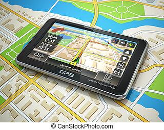 gps, navigation, système, sur, ville, map.